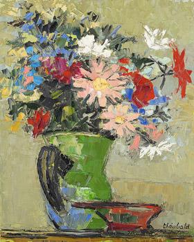 Bouquet au pot vert