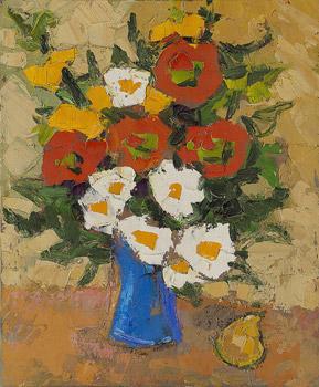 Bouquet au vase bleu