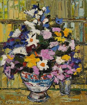 Bouquet devant la bibliothèque